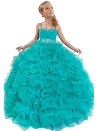 2016 ragazze di modo cinghie di spaghetti per bambini Ruffles Ball Gown Flower Girls Party Dress Dance Girls Abiti da spettacolo da abiti da sera in giallo perline da bambini fornitori