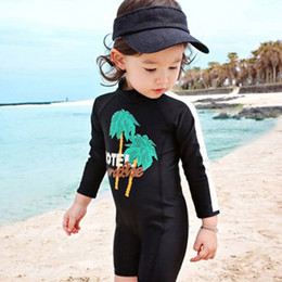 Wholesale Girls Swimwear Long - Coconut Tree Baby Girls Boys Swimwear Swimming One-Pieces Black long Sleeve Sunscreen Swim Clothes Children Clothing Swimsuits A6054