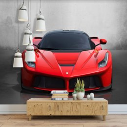 Wholesale Photo Prints Poster - Custom Any Size 3D Sports Car Poster Photo Wallpaper Living Room Study Bedroom TV Background Wall Mural Wallpaper De Parede 3D