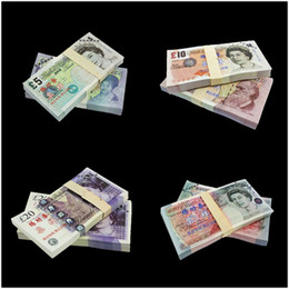 Wholesale Uk Money - 400PCS UK Pound Movie Props Money £50 20 10 5 Home Decoration Arts Collectible Banks Staff Trainings Learnings Banknotes Movie Props