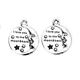 Wholesale Tibetan Silver Moon Charms - Wholesale- 10pcs Tibetan Silver Plated I Love You to the Moon and Back Charms Pendants for Necklace Jewelry Making DIY Handmade 23mm