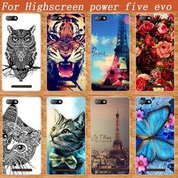 Wholesale Diy Paint Phone Case - Wholesale- For Highscreen Power Five EVO Case Cover Luxury Diy Painting Colored Tiger Owl Rose Soft Tpu Power Five EVO Phone Sheer Bags