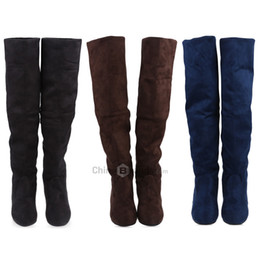 Wholesale Knee High Canvas Boots - 2017 New Vintage Pure Color Round Toe Ladies Knee Boots Women Fashion Flat Boots Thigh-High Boots