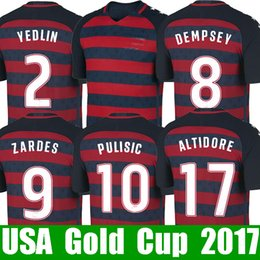 Wholesale Cup Soccer Jersey - Thailand PULISIC USA soccer jerseys Gold cup 2017 2018 United states national jersey 17 18 DONOVAN YEDLIN BRADLEY ALTIDORE fooball shirt