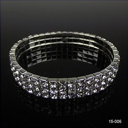 Wholesale 15006 Hot Sale Row Rhinestone Stretch Bangle Bridal Wedding Bracelet Bridal Jewelry for Party Evening Cheap Bracelet