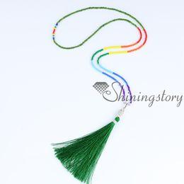 sieben Chakra Halskette mit Quaste 7 Chakra Heilung Schmuck Baum des Lebens Anhänger Yoga spirituellen Schmuck Perlen Quaste Halsketten Großhandel von Fabrikanten