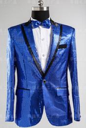 Wholesale Ceremony Suits Men - Wholesale- Paillette suit men Host master of ceremonies formal dress paillette suit blazer men's clothing costumes free shipping
