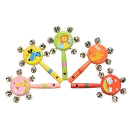 Wholesale Kids Animal Whistle - Wholesale- Baby Toys Wood Babies Rattle Cartoon Animal Wooden Whistle Hand Bells Kid Musical Toy