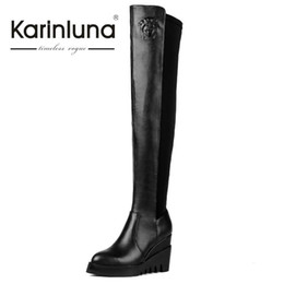 Wholesale Tall Sexy High Heels - Wholesale- KarinLuna Big Brand Autumn Winter Boots Over The Knee Tall Long Boots Women Genuine Leather Shoes Sexy Wedge High Heeled Boots