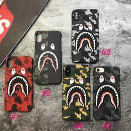 Wholesale Wholesale Camouflage Iphone Cover - Camouflage Shark Case For iphone X 6 6S 7 8 Plus Hard PC Matte Back Case Army Phone Protector Luminous Glow Cover