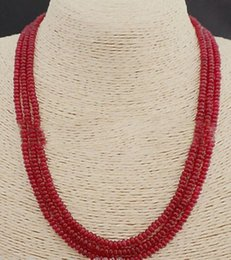 Wholesale Genuine Ruby Necklace - GENUINE TOP NATURAL 3 Rows 2X4mm RED RUBY BEADS NECKLACE