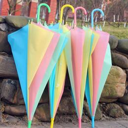 Wholesale Kid Rain Gear - Promotional Colorful Rainbow Style Umbrella For Women Kids Long Handle Parasol Mixed Colors Rain Gear Free Shipping ZA4300
