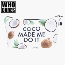 Wholesale Bolsos 3d - Wholesale- Coconut made me do it 3D Printing women cosmetic bag neceser makeup pouch travel bolsos mujer de marca famosa toiletry organizer