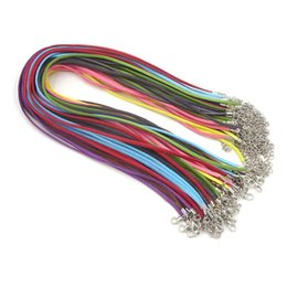 """Wholesale Wholesale Suede Necklaces - 100Pcs Mix Color Suede Cord 3mm Flat Leather Cord Necklace 18"""" Supplies For Jewelry Wholesale Velvet Rope With Clasp & Extender"""