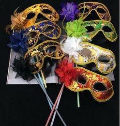 Wholesale Wholesale Costume Feathers - Venetian masquerade music ball mask on stick Mardi Gras Costume eyemask printing Halloween Carnival Hand Held Stick party Mask