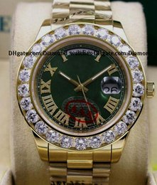 Wholesale President Ii - High quality Green Dial Mens Day-Date 2 II 18k 41MM President Yellow Gold Bigger Diamond Mechanical Men Watches 18038