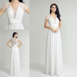 Wholesale Two Piece Elegant Quinceanera Dresses - New Design Lace Chiffon White Occasion Prom Dresses with Beaded belt 2017 Cap Sleeve Elegant Lace back Covered Button Evening Dress Wear