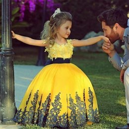 Wholesale Junior Bridesmaid Sash - Hot A-Line Flowers Girl Dresses Yellow Blue Junior Bridesmaid Gowns Lace Tulle Little Baby Girl Birthday Wedding Party Gowns Ball Gown 2017