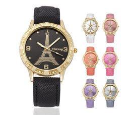 Wholesale Vintage Eiffel Tower - Fashion Love Heart Women Leather Paris Eiffel Tower Cowboy Vintage Ladies Girls Students Dress Quartz Leisure Geneva Wrist Watches
