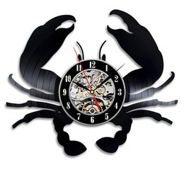 Wholesale Plastic Vintage Kitchen - Limited Real Quartz Analog Crab Gift Wall Clock Vinyl Record Art Decor Vintage kitchen clocks