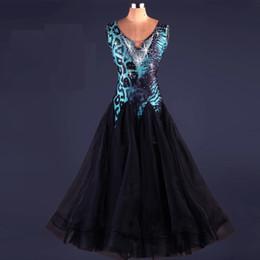 Wholesale Ballroom Dress Waltz - New Ballroom Dance Dress Modern Waltz Tango Standard Blue Leopard Rhinestone Dance Dress Size S-XXL Custom A74