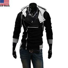 Wholesale Long Stocking Hats - US Stock Hot Sale Winter&Autumn Men Hoodies Sweatshirts Casual Men Zipper Hoodies Slim Fit Male Hooded Jacket Sportswear
