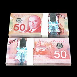 Wholesale Open Videos - 100PCS SET Canada CAD50 TV Video Props Money Training Banknotes Home Decoration Souvenir Arts Crafts Gift Poker Game Chips Movie Props Money