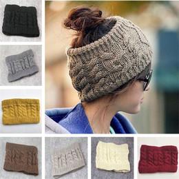 Inverno Messy Bun Hat Mulheres gorros De Malha moda beanie ampla crochê headbands Mulher chapéus das mulheres Das Senhoras Cap adulto caps Natal de