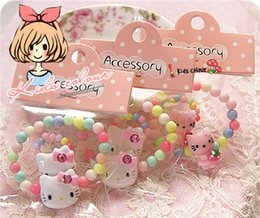 Wholesale Set Girl Kitty - Korean Jewelry Accessories Set For Children Baby Girls Kids Acrylic Beads Bracelet Ring Sets Hello Kitty Design Gift