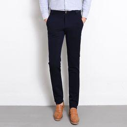 Wholesale Business Pants Suits - Wholesale- New Brand Clothing Dress Slim Men Pants Black Blue Solid Formal Business Suit Pant Male Autumn Winter Casual Long Trousers Man