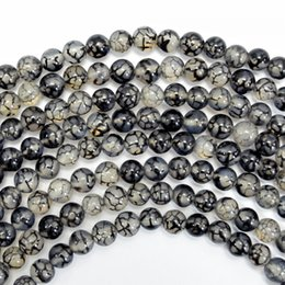 Wholesale Dragon Vein 6mm - Wholesale Fashion diy 4mm 6mm 8mm 10mm 12mm round Black dragon Vein agate loose beads jewelry suplly jewelry making