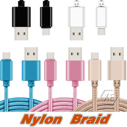 Wholesale Android 2m - High Speed 1M 2M 3M 6ft 10ft Metal Housing Braided Micro USB Cable Durable Tinning Charging USB Type C Cable for S7 S8 Android Smart Phone