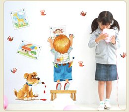 Wholesale Dog Vinyl Wall Decals - SK7007 Cartoon Boy Painting Wall Stickers Cute Dog Decals For Kids Rooms Home Decor Removable Creative Wall Decor
