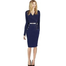 Wholesale Most Sold Dresses - Women Sexy Dress With Button Slim V-Neck Long-Sleeved Package Hip Party Dresses New Autumn Women Clothing Most Sell