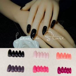 Wholesale False Finger Nail Red - Wholesale-Black Tip false nail, high-quality product peach red