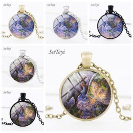 gems animals Australia - Charm Glass Cabochon Unicorn Chain Necklaces Silver Time Gem Pendant Necklaces Handmade Art Animal Crystal Choker Jewelry For Women