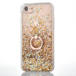 Wholesale Iphone Hard Diamond Case - Bling Liquid Quicksand Diamond Foil Glitter Hard PC Case For Iphone X 8 7 Plus 6 6s TPU +Metal Finger Ring Confetti Sparkle Sequin Cover