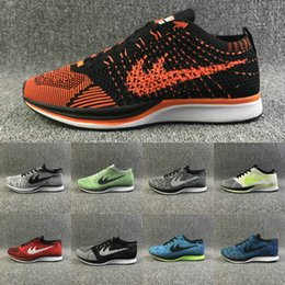 Wholesale Colourful Men - 24 Colors Colourful Women Men Running Shoes Knitting Breathable Lightweight Mens Run Sport Shoes Outdoor Sneaker Black Red Grey Orange
