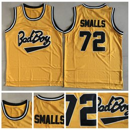 Wholesale Bad Boys - Movie Bad Boy Basketball Jerseys Notorious Big 72 Biggie Smalls Jersey Mens Yellow Team Color Embroidery Jersey S-XXL