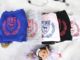 Wholesale Cute Pink Panties - vs love pink Girl Sexy 100% Cotton Stripe Panties Women Underwear Vs Pink with tag Bragas Briefs Cute Letterbest quality