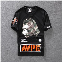 Wholesale Lantern Sleeve Blouse - Summer Mens Cartoon Apes blouses T-Shirts Crew Neck Short-sleeve classic camo Printed Supply Co Male Tops Tees for lovers casual tees