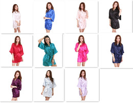 Wholesale ladies kimono robe - 11 colors Ladies womens Solid plain rayon silk short Robe Pajama Lingerie Nightdress Kimono Gown pjs Women Dress elegant M010