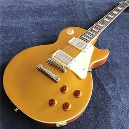 Mostrar creme on-line-nova fábrica chinesa padrão de guitarra elétrica, top de ouro com creme pickguard, hardware cromado,. mostra foto Real