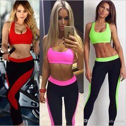 Wholesale Yoga V Neck Sport Bras - Women Yoga Gym Wear Outfits 2pcs Bra Top and Leggings Pants S-L Sport Leisure Suit Vest Type Bra out135