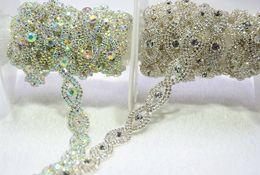 Wholesale Diamante Shape - 5yards lot 1.5cm diamante rhinestone crystal AB trim silver tone wedding crystal headband belt banding garment accessories