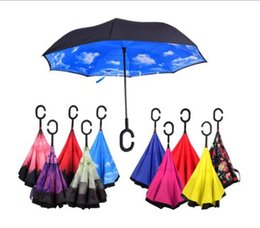 Wholesale Design Inside - Inverted Umbrella Double Layer Reverse Rainy Sunny Umbrella with C Handle Self Standing Inside Out Special Design Free Shipping