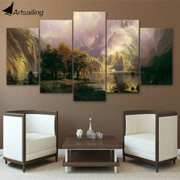 Wholesale Abstract Modern Figure Painting - 5 Panels Landscape Sight,Large Modern Abstract Canvas Oil Painting Print Wall Art Decor for Living Room Home Decoration Framed Unframe