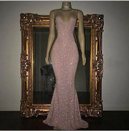 Wholesale Rose Prom Dresses Beading - 2017 Stunning Rose Pink Sequined 2K17 Prom Dresses Sexy Spaghetti Straps Mermaid Sleeveless Evening Gowns