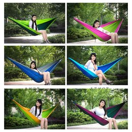 Wholesale Indoors Hammock - 28kp Colorful Double Hammock Parachute Cloth Lightweight Comfortable Sleeping Single Hammocks For Outdoor Camping Or Indoor Factory Direct