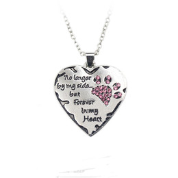 "Wholesale Hot Dog Chains - Simple Hot Pet Necklace ""no longer by my side, but forever in my heart"" paw claw Shape Pendant Necklace Special Gift Dog Lovers 161728"